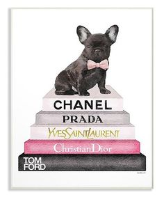 Modernize the look of your home decor by choosing this Stupell Industries Book Stack Fashion French Bulldog by Amanda Greenwood Printed Wood Wall Art. Wood Wall Art, Framed Wall Art, Canvas Artwork, Canvas Wall Art, Big Canvas, Wall Prints, Canvas Prints, Black French Bulldogs, Stack Of Books