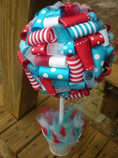 Seuss Party: Ribbon Topiary in Dr. Seuss Blue, Red, White Do barney colors! Dr Seuss Party Ideas, Dr Seuss Birthday Party, First Birthday Parties, First Birthdays, Birthday Ideas, Baby Birthday, Birthday Decorations, Dr Suess Baby, Dr Seuss Baby Shower