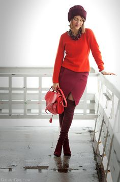 29 New Ideas Skirt Red Outfit Winter Boots Blue Skirt Outfits, Winter Dress Outfits, Red Skirts, Fall Winter Outfits, Winter Boots, Casual Winter, Red Dress Casual, Trends, Carolina Herrera