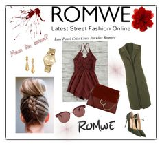 """ROMWE"" by naya-dg ❤ liked on Polyvore featuring WearAll, MICHAEL Michael Kors, Chloé, Jennifer Chamandi, Oscar de la Renta, Gucci and Oliver Peoples"