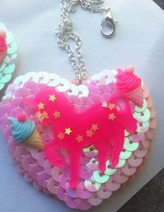 Image of Kawaii unicorn necklace pastel kei