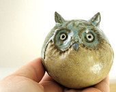 Rustic  Woodland Owl Stoneware Sculpture  Would loveto try to do this