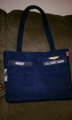 My husband had his old Coast Guard uniform turn into a bag I use at work. Can be used with any military uniform. Coast Guard Uniforms, Us Coast Guard, Military Crafts, Purse Patterns, Tote Purse, Sewing Ideas, Sewing Projects, Diaper Bag, Reuse