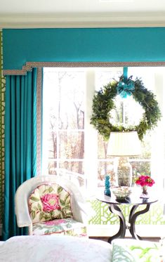 The beginning of December marks the start of the most wonderful time of the year! Including the opening of Atlanta Home & Lifestyles-Home for the Holiday. A close up of some fabulous window treatments/ teal & green. Moroccan Tent, Small Castles, Pelmets, Glass Of Champagne, Trellis Pattern, Atlanta Homes, Cornices, Valances, Holiday Activities