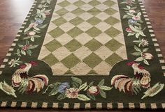 Country Kitchen Fruit Area Rugs NEW Carpet Rooster Hooked Wool Round Green Floor Rugs, Kitchen Rugs Washable, Kitchen Decor Modern, Kitchen Area Rugs, Rugs, Kitchen Rug, Rooster Rugs, Rooster Kitchen, Area Rugs