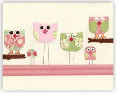 Baby girl Nursery, Children Art print, Owl..Life is Beautiful pink and green.