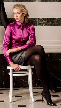 Whether it be summer time or wintertime, in the event that there is something that individuals constantly wea Blouse Sexy, Bow Blouse, Blouse Outfit, Opaque Tights, Black Tights, Satin Top, Silk Satin, Satin Bluse, Sexy Women