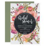 modern boho wild flower bridal shower invitation
