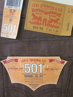 Nwt Levis 501XX Button Fly Brown Shrink to Fit Straight Leg Jean $68.00 W33 L34  #Levis #ClassicStraightLeg