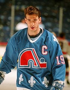 Hall of Famer Joe Sakic in WHA / NHL Quebec Nordiques sweater. The Quebec franchise moved to form the NHL Colorado Avalanche. Rink Hockey, Hockey Teams, Hockey Stuff, Montreal Canadiens, Quebec Nordiques, Hockey Rules, Nhl News, Pittsburgh Penguins Hockey, Sports Uniforms