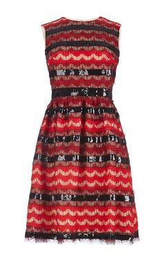 Scalloped lace and sequin sleeveless dress by HUISHAN ZHANG for Preorder on Moda Operandi