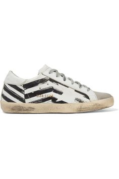 Golden Goose Deluxe Brand - Superstar distressed printed leather and suede sneakers Metallic Leather, Black Leather, Personal Shopping, Suede Sneakers, Golden Goose, Superstar, Lace Up, Gym, Printed
