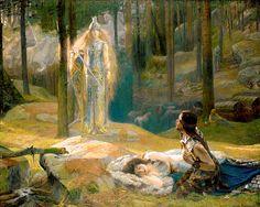 Gaston Bussiere, La Revelation, Brunnhilde Decouvrant Sieglinde et Siegmund