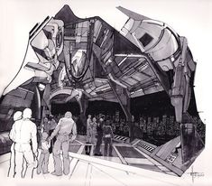 Album of 50 high res pics by Syd Mead, visual futurist (famous for his designs on Blade Runner, Aliens, and Tron, among other things). Sci Fi Environment, Environment Design, Syd Mead, 70s Sci Fi Art, Science Fiction Art, Photoshop, Retro Futurism, Blade Runner, Illustrators