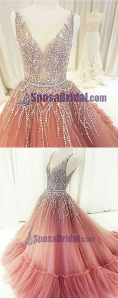 Beaded Rhinestones V Neck Aline Gorgeous Prom Dresses, Fashion Formal Elegant Prom dress, PD0672