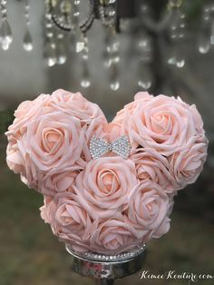 Mickey Centerpiece or Bridesmaid/Flower Girl Bouquet With RHINESTONE BOW BROOCH. These premium roses have a crisp fresh cut flower look that hold shap. Mickey Centerpiece, Disney Centerpieces, Shower Centerpieces, Flower Ball Centerpiece, Bridesmaid Flowers, Wedding Bouquets, Wedding Flowers, Bridesmaid Ideas, Wedding Bridesmaids