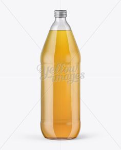 40oz Clear Glass Bottle with Lager Beer Mockup
