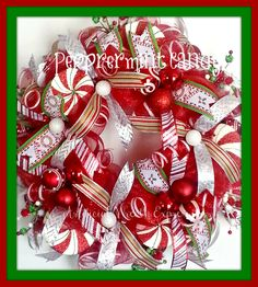 Peppermint Candy Deco Mesh Christmas wreath