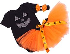CAKYE® Baby Girls' Halloween Tutu Dress Pumpkin Costume Set (Large (9-12 months), Black) CAKYE