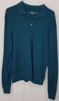 Lands End Mens Aqua Blue 100% Pima Cotton Long Sleeve Polo Shirt Medium M 38-40 #LandsEnd #PoloRugby