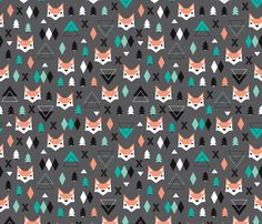 Geometric fox and pine tree illustration pattern. Fun illustration print for christmas and winter - fabric by Little Smilemakers Studio on Spoonflower - DIY Inspiration for home decor and fashion. Fabric Patterns, Print Patterns, Pattern Designs, Blanket Patterns, Woodland Baby Nursery, Woodland Theme, Geometric Fox, Fox Illustration, Fox Pattern