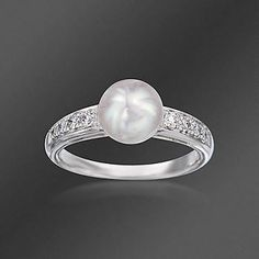 Mikimoto 7.75mm Akoya Pearl and .18 ct. t.w. Diamond Ring In 18kt White Gold
