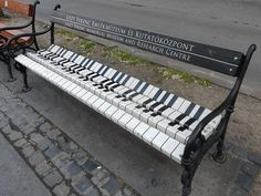 Piano bench promoting the Ferenc Liszt Museum on the Avenue Andrassy, Budapest, Hungary.