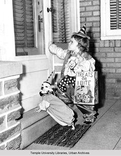 Four-year-old Linda Capri, of Olney, and her pet puppy, Nappy, are ready for Saturday night's Halloween Trick or Treat neighborhood tour as a pair of clowns, 1959 | George D. McDowell Philadelphia Evening Bulletin Photograph collection, Temple University.