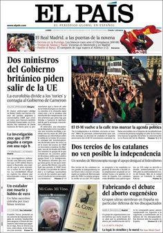 Los Titulares y Portadas de Noticias Destacadas Españolas del 13 de Mayo de 2013 del Diario El País ¿Que le parecio esta Portada de este Diario Español?