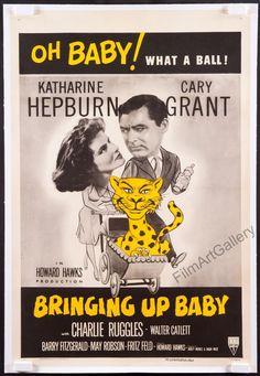 BRINGING UP BABY U.S. 1 sheet RI linen Katharine Hepburn Cary Grant Howard Hawks