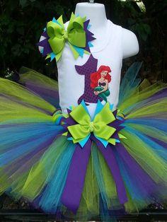 Handmade Little Mermaid inspired tutu set, little mermaid tutu, turquoise, purple and lime green, tutu skirt, . Girls tutu, birthday tutu