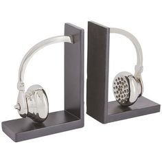 The bulky headphones of yesteryear are making a comeback. Our set of bookends is perfect to surround your vinyl collection or assorted biographies of your favorite rock and roll legends.