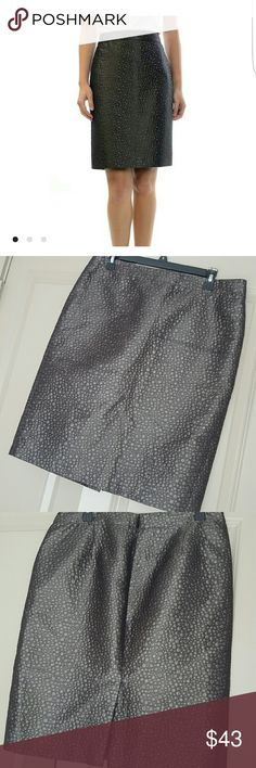 "J. Crew Metallic Jacquard Pencil Skirt This beautiful jacquard skirt is the perfect addition to your holiday look. Pair with a solid bold red turtleneck or top to look perfect for your holiday festivities.  Color is a cross between stone, black, gray and brown with jacquard polka dots of different sizes  Shell: 65% polyester, 25% rayon, 10% polyamide  Fully lined with 100% polyester  Waist 35""  Skirt length 24""    Thanks for stopping by and shopping my closet  Check out my other listings…"