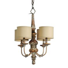 Distressed Wood Four Light Chandelier Mariana Imports Candles W/ 4 Or 5 Shades Chandeliers