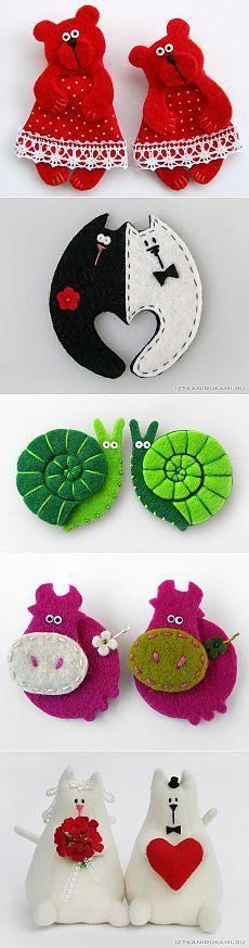 Красивые игрушки из фетра.