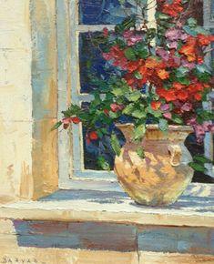 "Original Painting ""Window Sill by Endre Peter Darvas Pintura Exterior, Classic Paintings, Arte Floral, Sacred Art, Fantastic Art, Beautiful Artwork, Oeuvre D'art, Painting Inspiration, Flower Art"