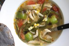 Chicken and Lime Soup with Corn and Poblano Peppers – Not Eating Out in New York