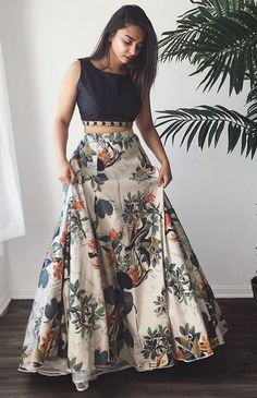 230da5ce0d841 Two Piece Crew Sweep Train Light Champagne Printed Satin Prom Dress with  Beading
