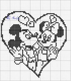 Minnie and Mickey Mouse x-stitch Crochet Diagram, Crochet Chart, Filet Crochet, Crochet Patterns, Cross Stitch Pillow, Cross Stitch Heart, Wedding Cross Stitch Patterns, Cross Stitch Designs, Stitch Cartoon