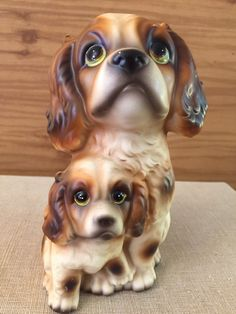 Big Eyed Figure  Spaniel and Pup  Mid Century by PineStreetPickers