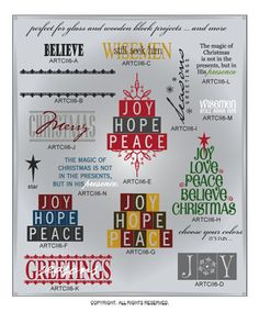DIGITAL DOWNLOAD ... a beautiful, detailed add-on of 14 single and layered festive wall word vinyl lettering vector art graphics ... perfect for door, window, glass, and wood block projects @ My Vinyl Designer (http://www.myvinyldesigner.com/Products/christmas-two-collection-addon-p6.aspx)