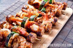 Shrimp Sausage Skewers