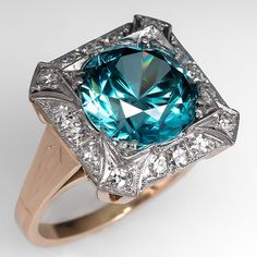 This gorgeous blue zircon… Antique Jewelry, Vintage Jewelry, Blue Tourmaline, Blue Zircon, Vintage Diamond, Gemstone Jewelry, Gemstones, Minerals, Beautiful Rings