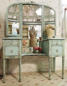painted old mirrors | Vintage Painted Cottage Aqua Chic Triple Mirror Vanity | Casa