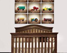 FLASH SALE til MIDNIGHT On Sale Vintage Matchbox Work Trucks, Set of Nine Photo prints, Nursery Decor, Rustic Decor Toy Cars, Baby room idea