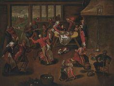 File:Circle of Marten van Cleve Peasants Feasting in an Interior.jpg