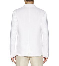 ERMENEGILDO ZEGNAManteaux et blousons:         Cette veste militaire en lin blanc immaculé possède quatre grandes poches à rabat qui ne passent pas inaperçues et elle dégage une allure é