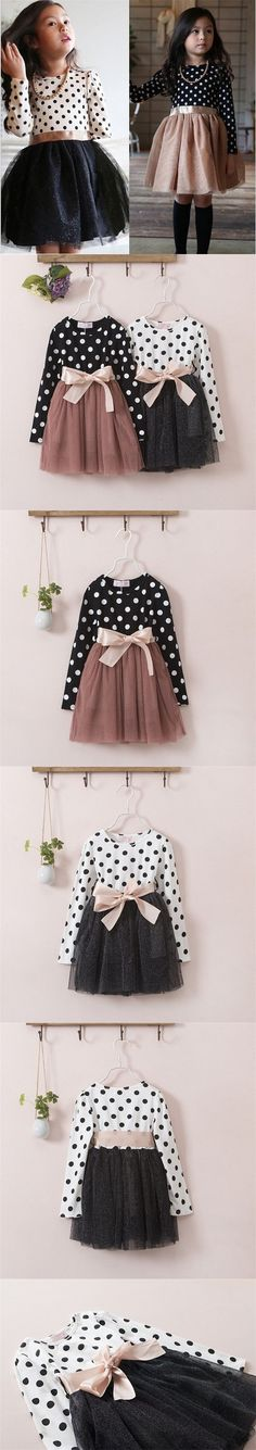 New 2015 Autumn Winter 3-8 Years Baby Girls Clothing Kids Dresses For Girl Clothes Party Long Sleeve Polka Dot Princess Dress