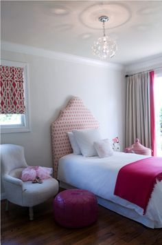 pink gray white girl's bedroom love that chair too