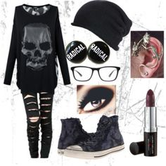 """Skulls and Black"" by sarahboothe1gmailcom on Polyvore"